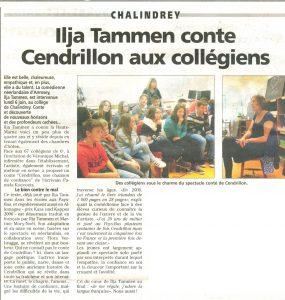 krantenartikel over de theatervoorstelling op school, gespeeld door de gastvrouw van la Perle d'Anrosey