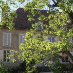 Frans landhuis achter het bladerdek van de Catalpa