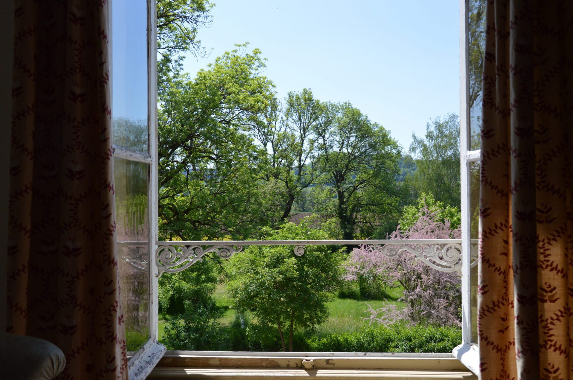 Uitzicht op bomen door openstaand raam