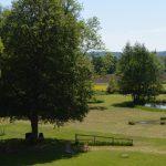 Uitzicht vanuit de gastenkamer op de tuin van La Perle d'Anrosey